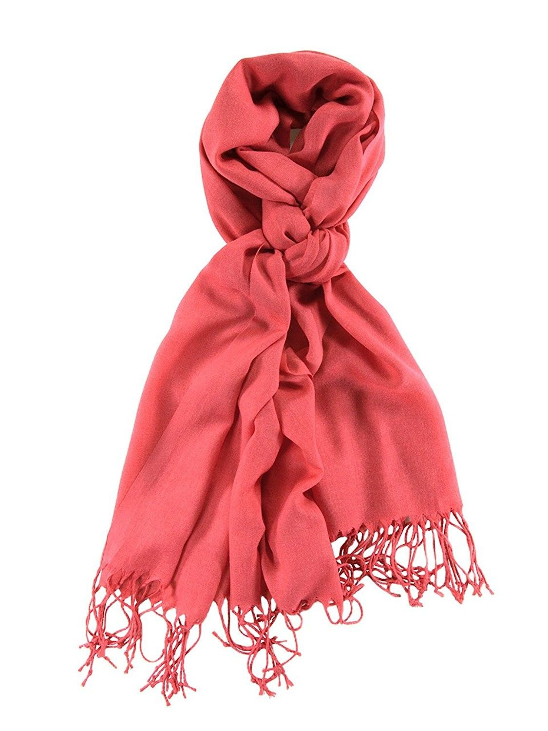 9b350e6cf64 Light Weight Solid Color Pashmina Scarf- Silk Feel   - Coral Cloud -  CJ11RW162C7 - Scarves   Wraps