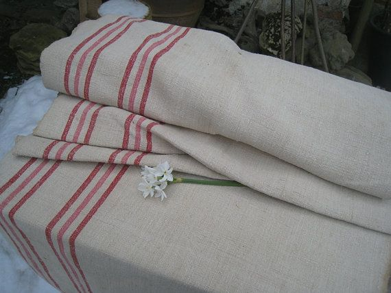 antique hemp linen RED and  ROSE upholstery fabric by grainsack, $259.00
