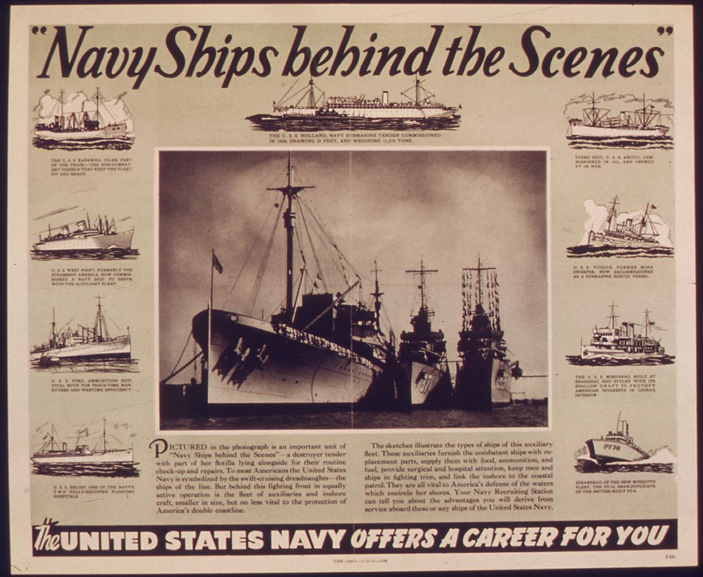 """Navy ships behind the scenes"" NARA 513621 Author not"