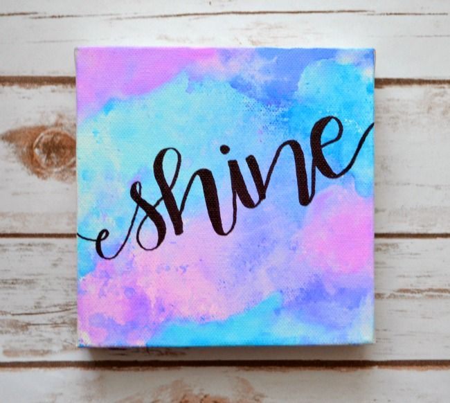 Easy Hand Lettered Watercolor Canvas Easy Canvas Art Diy Canvas