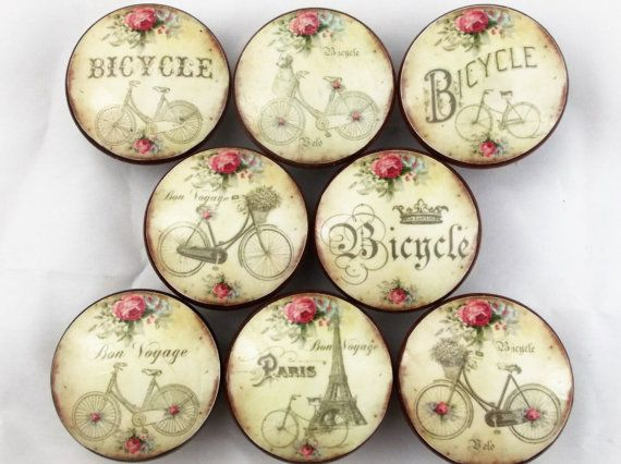 Set Of 8 Bicycle And Roses Oversized Cabinet Knobs