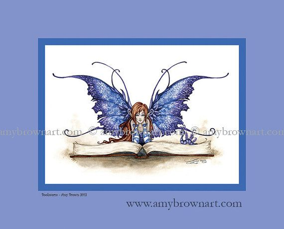 Fairy Reading 8x10 PRINT for childs room nursery by AmyBrownArt