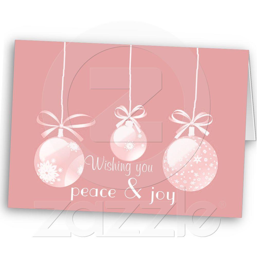 Pink Wishing Peace & Joy Christmas Card