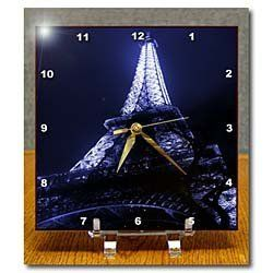 Anne Marie Baugh Paris - Close Up Of The Paris Eiffel Tower With A Blue Tint - Desk Clocks - 6x6 Desk Clock by 3dRose, http://www.amazon.com/dp/B00DLES022/ref=cm_sw_r_pi_dp_zENcsb0TXQY04
