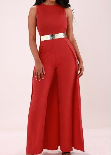 Overlay Embellished Solid Red Sleeveless Jumpsuit | Overlays, Red ...