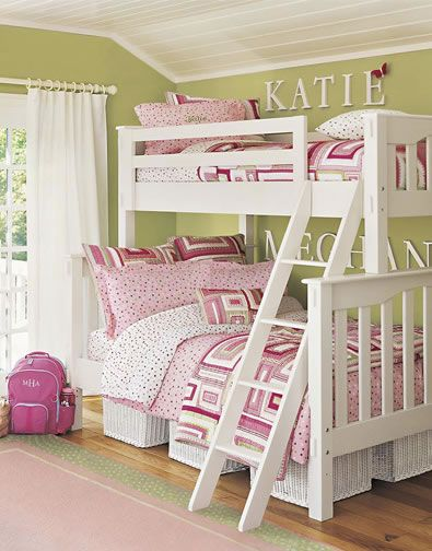 Bunk Bed Ideas for Girls Room for Two Girls. Love having their names on the  wall next to their beds.