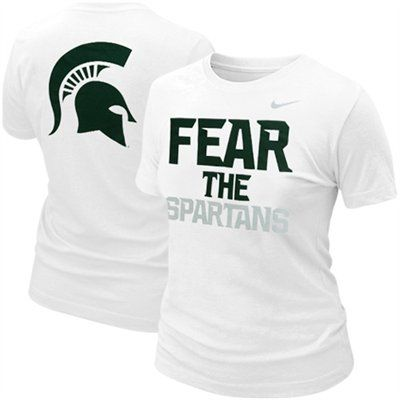 Nike Michigan State Spartans Ladies Fear The Spartans T Shirt White Michigan State Clothes School Shirt Designs Michigan State Spartans