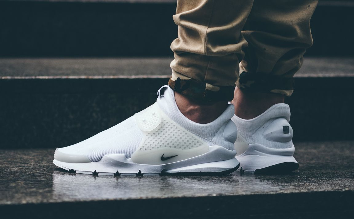 White Nike Sock Dart On Feet