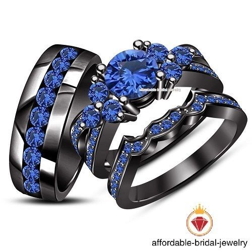 Blue Sapphire 14k Black Finish Gold 2ct Wedding His Hers Matching