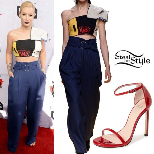 Iggy Azalea posed at the iHeartRadio Music Awards wearing an Off-White C/O Virgil Abloh Fall 2016 Ensamble (Not available online) with Stuart Weitzman Nudist Sandals ($398.00). You can find similar sandals for less at GoJane ($26.60).