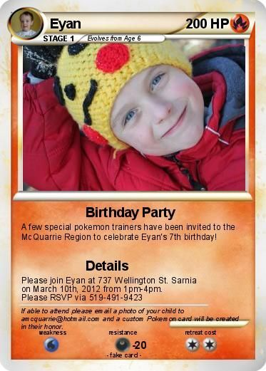 Create Your Own Pokemon Cards Eyan Is Going To Love This Check Out His Birthday Invites