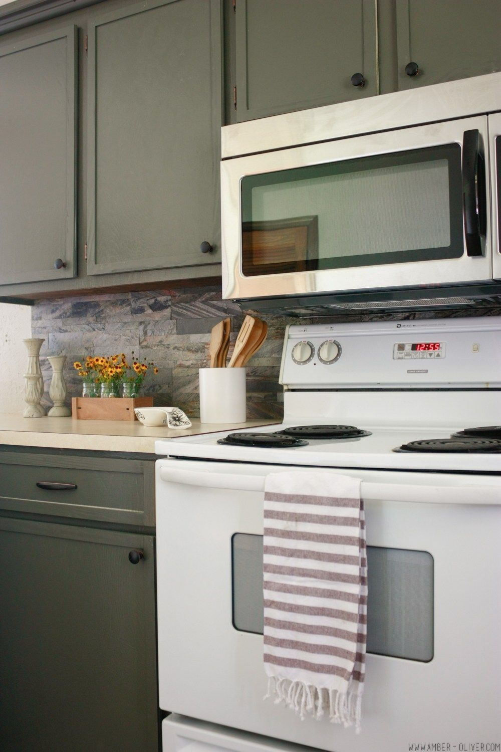 Kitchen remodel on a budget! Dark painted cabinets, peel ...