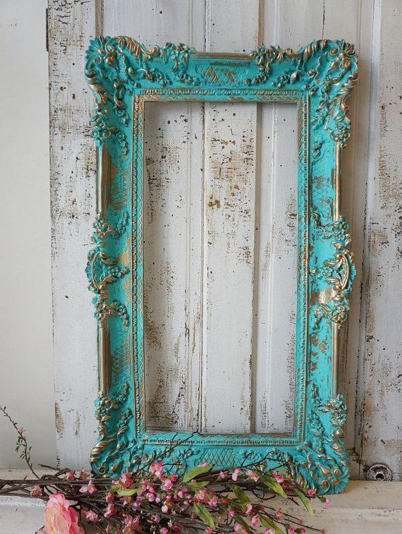 Aqua picture frame wall hanging decor w hints of turquoise shabby cottage chic ornate accented w gold home decor Anita Spero Design Aqua picture frame wall hanging decor...