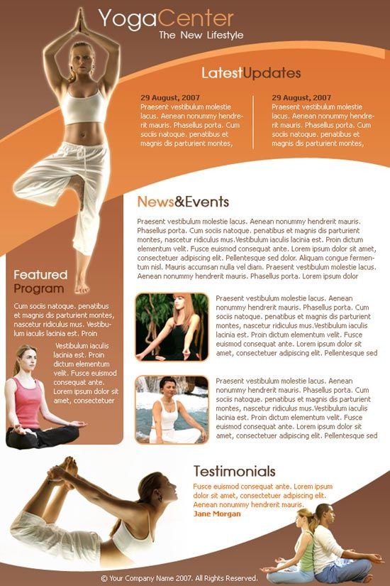 Yoga Newsletter Templates  Pure Yoga Digital Newsletters  Print