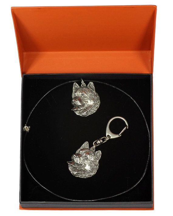 ELEGANCE set Mal or Mally dog keyring and necklace in casket limited edition ArtDog Alaskan Malamute NEW Dog keyring for dog lovers