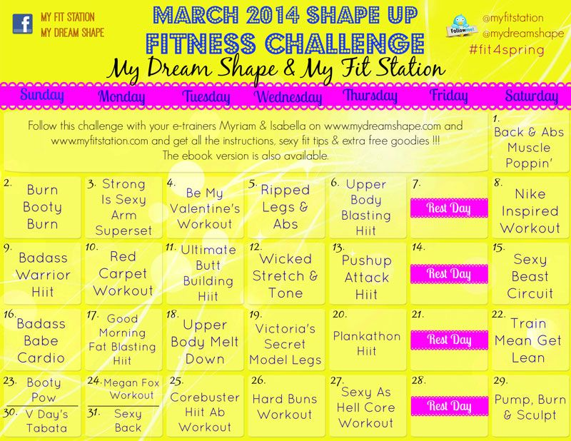 March  Fitness Challenge  Day Workout Calendar I Love
