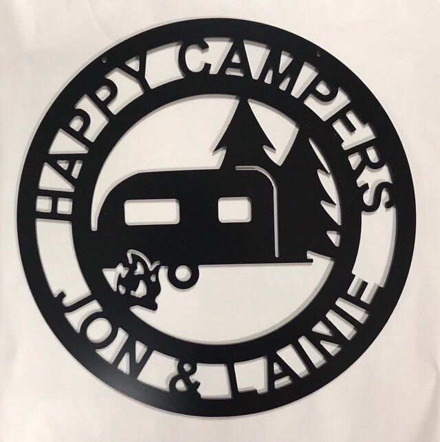 Happy Campers Yard Sign Camping Sign Camper Decor Rv Decor