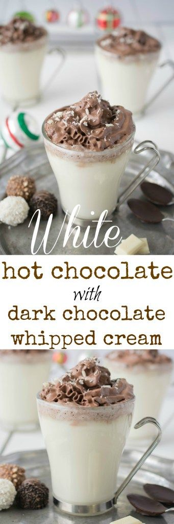 White Hot Chocolate with Dark Chocolate Whipped Cream White hot chocolate with dark chocolate whipped cream piped on the top. It's a chocolate-fest that is a warm and comforting drink and will satisfy all chocolate lovers.