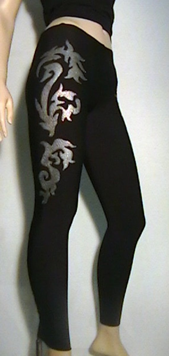 2d76fdb9907008 Aanstadt Das Vixen II Style Black Prolux Leggings/Tights with Metallica  Silver and Red Glitter Flou