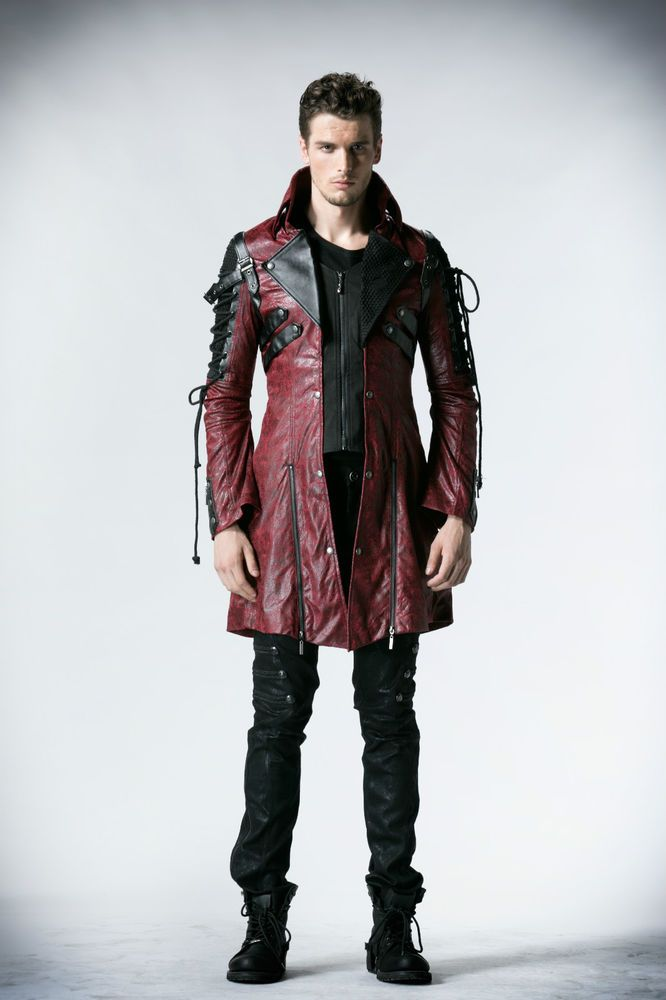8073ee4f0cfcc Punk Rave Poison Mens Faux Leather Black Red Goth Steampunk Military Coat  Jacket