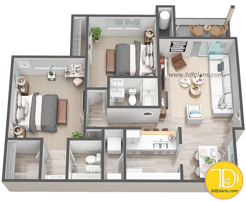 House 3d Floor Plan In Florida Small Apartment Floor Plans 2 Bedroom Apartment Floor Plan Home Design Floor Plans