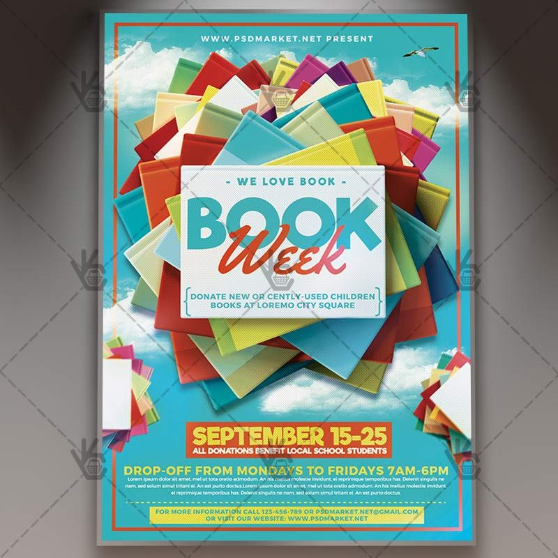 book week premium flyer psd template book bookstack booksupply bookweek books charity. Black Bedroom Furniture Sets. Home Design Ideas