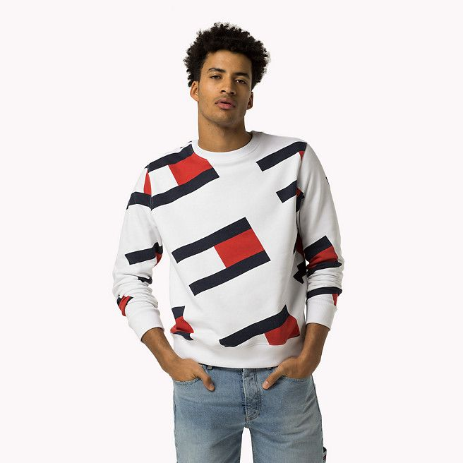 1aa4dfc35 Tommy Hilfiger All-over Flag Sweatshirt - classic white (White) - Tommy  Hilfiger Sweatshirts - detail image 0