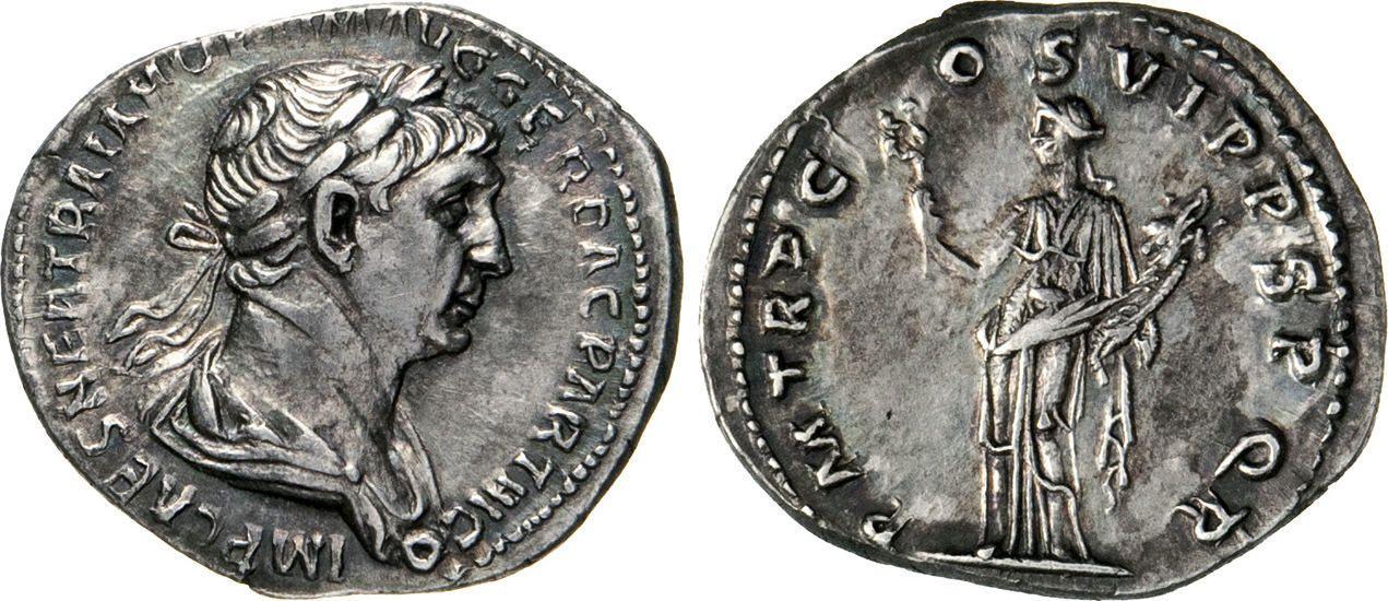 NumisBids: Numismatica Varesi s.a.s. Auction 65, Lot 181 : TRAIANO (98-117) Denario. D/ Busto laureato e paludato R/ La...