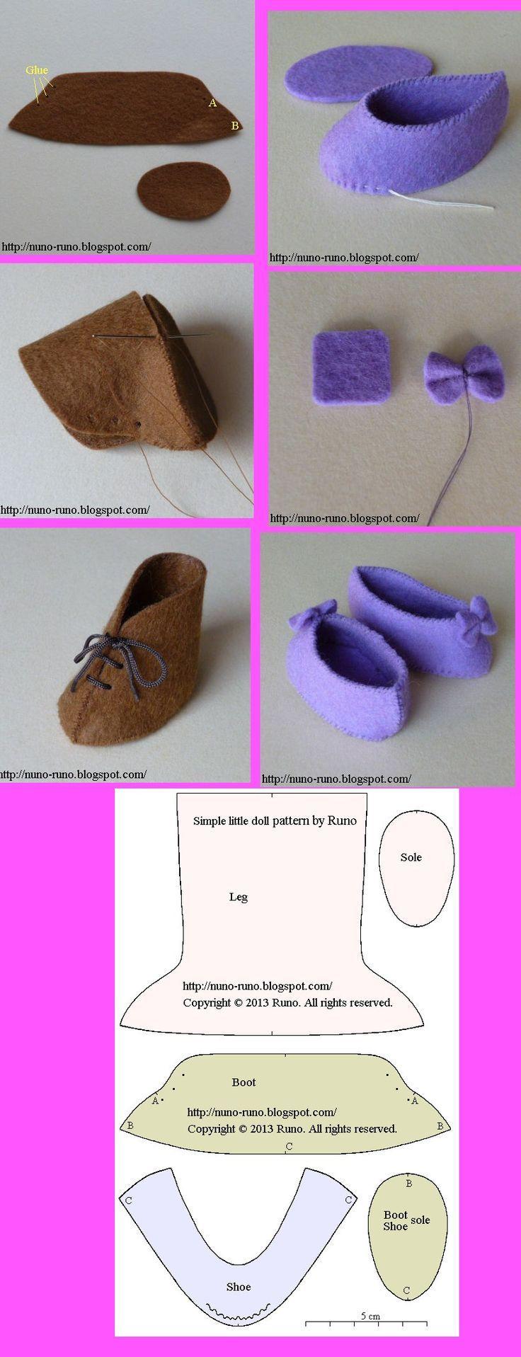 fcc76600568b Felt Shoes, Felt Booties, Felt Doll Patterns, Doll Clothes Patterns,  Clothing Patterns