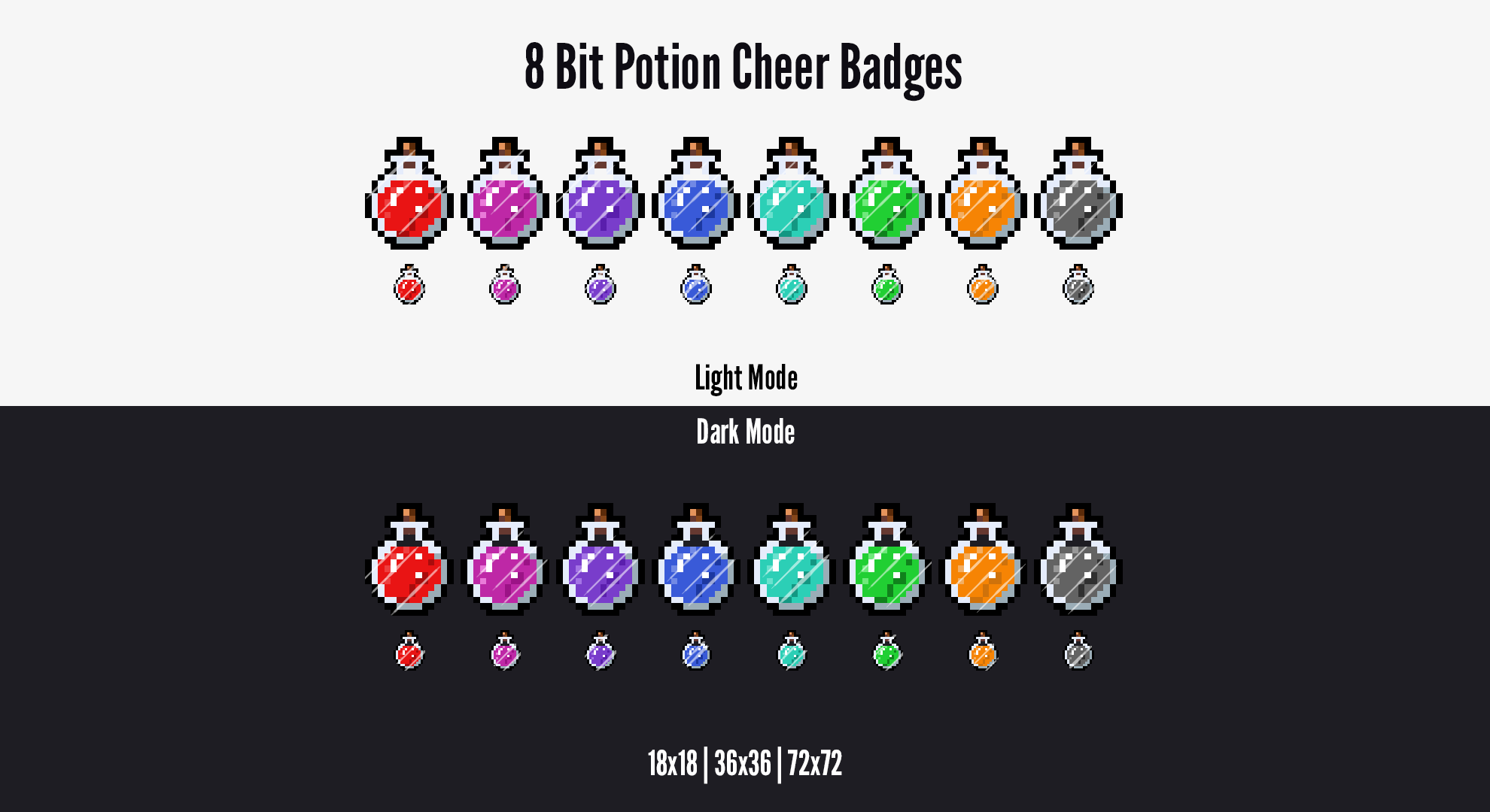 8 Bit Potion Cheer Badges for Twitch! Up your stream quality with these pixel-based cheer badges by LD Designs. Can be used as Subscriber Badges!  #twitchaffiliate #twitchsubbadges #twitchemotes #twitchpanels #twitchoverlay #pixelart #8bit #potions #magic #emotes #twitchcreative #digitalart #pixelgram #pixel_ig #pixel_dailies #pixeleffect #minecraft