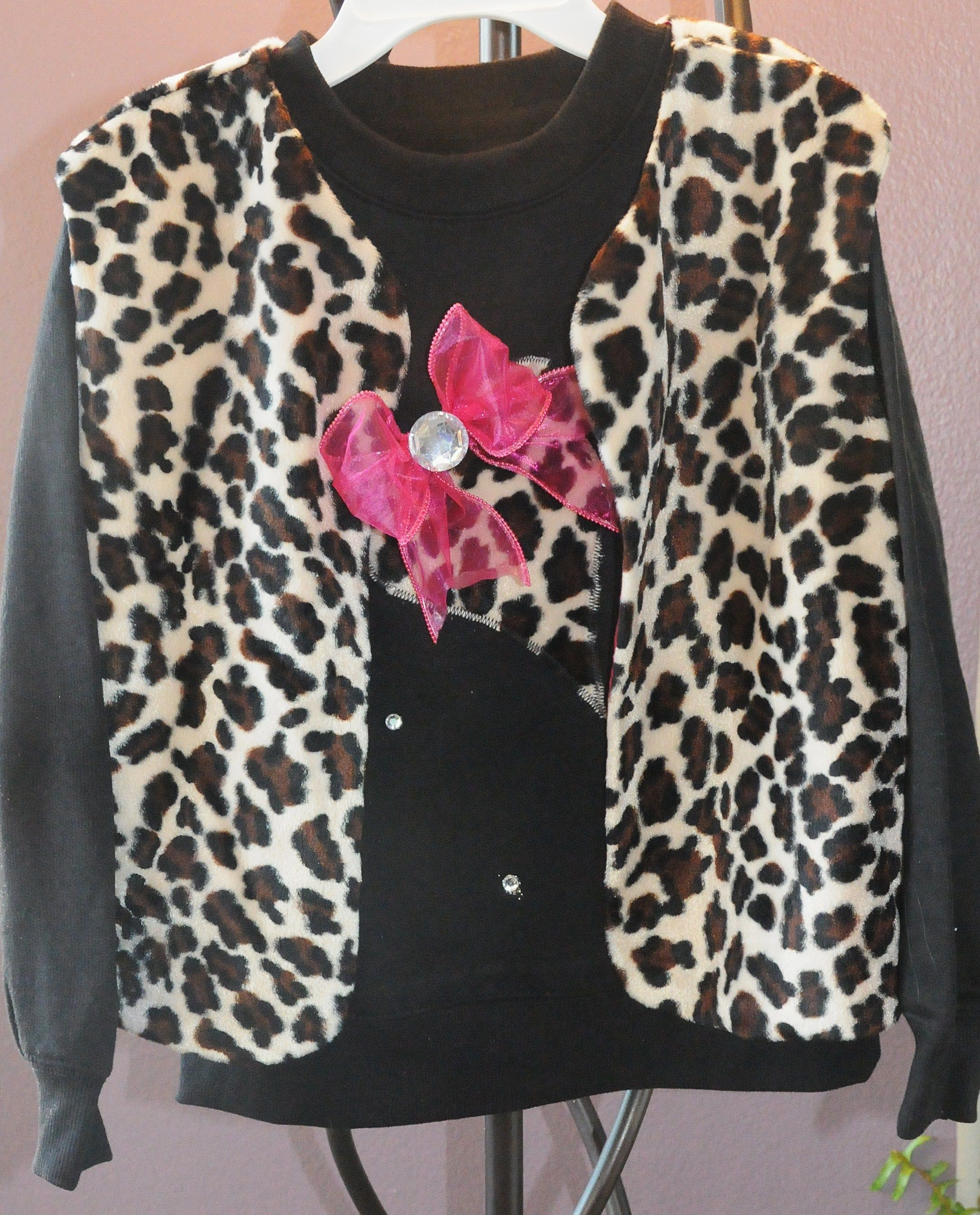 Darling Animal print vest available in Children Sizes.  Matching shirt with animal prints heart and stones.  Contact me!!