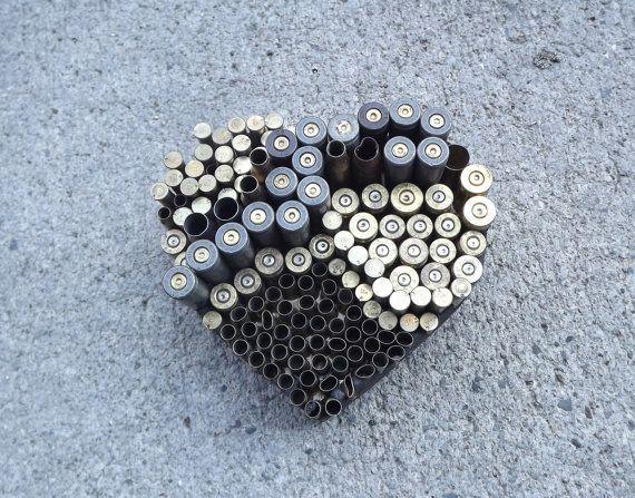 Mosaic Gun Shell Casing Heart Art/ Paper by PiecesofhomeMosaics, $23.00