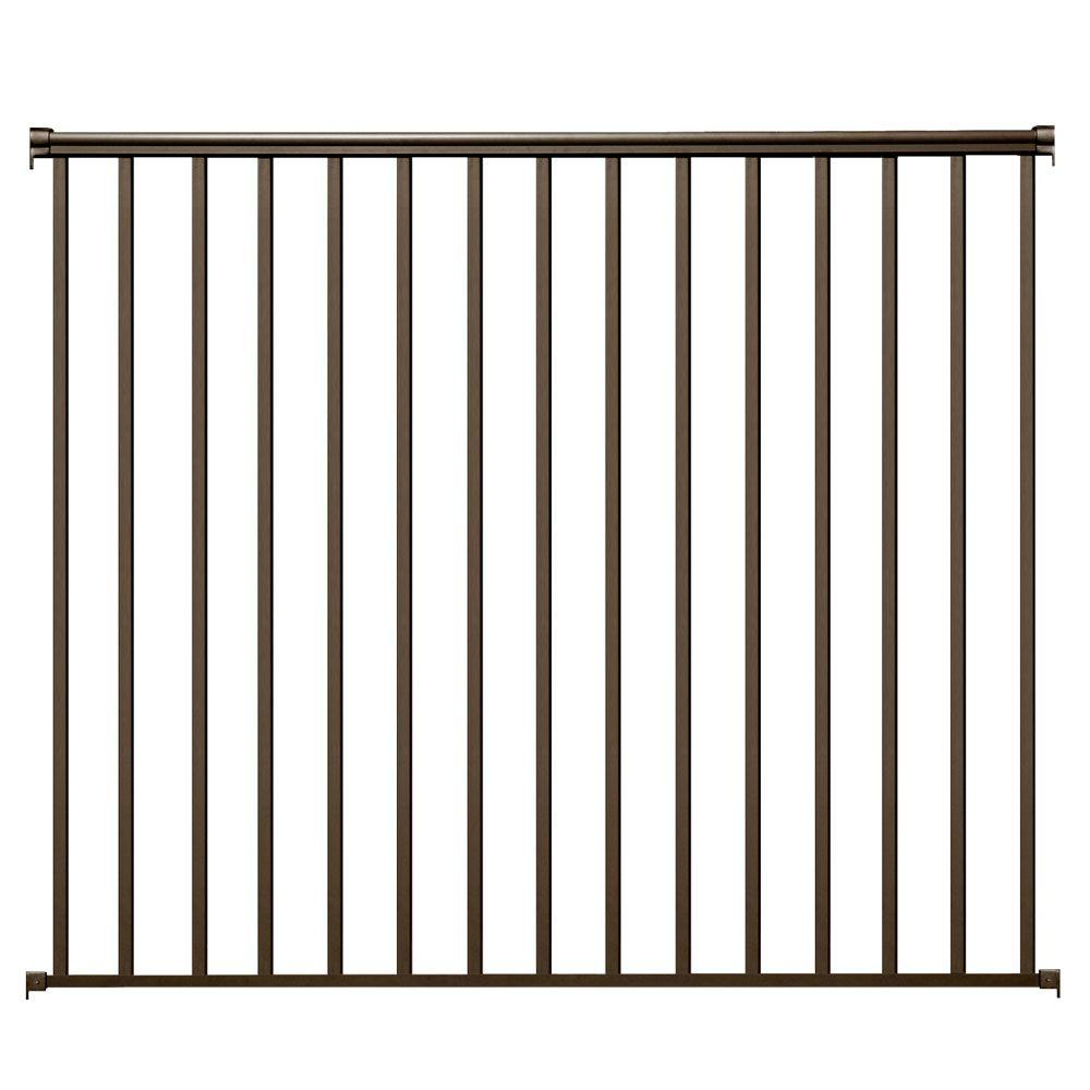 Ez Handrail 6 Ft X 54 In Bronze Aluminum Fence Panel Kit With 1