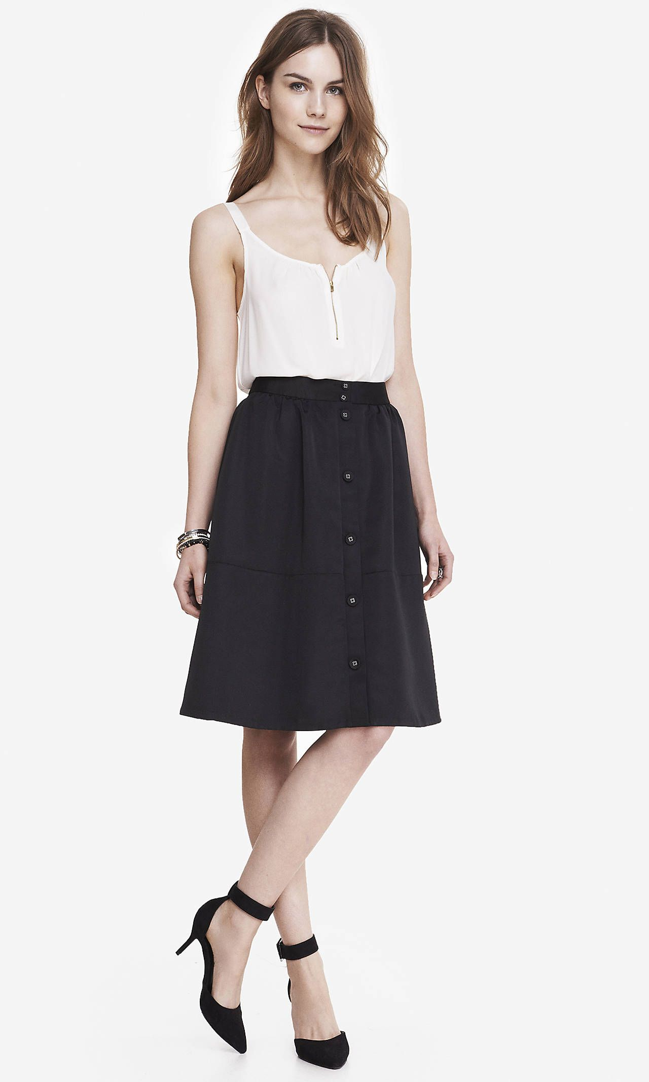 HIGH WAIST BUTTON MIDI SKIRT- BLACK | Express | threads ...