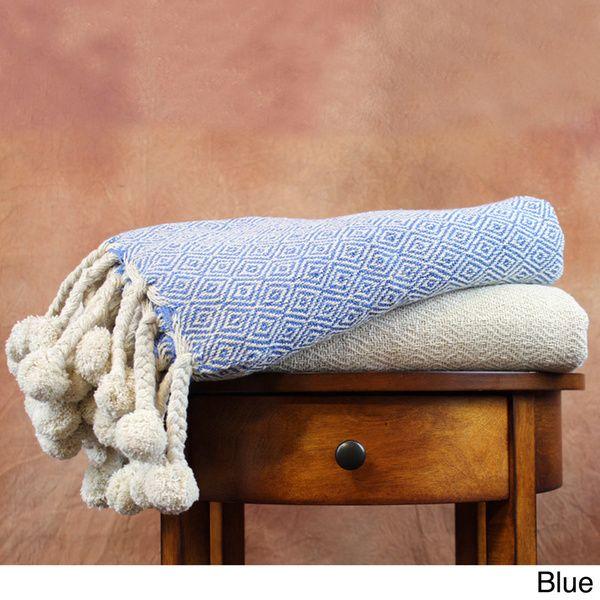 Amrapur Overseas 40percent Cotton Printed Diamond And Solid Throw Extraordinary Luxury Throw Blanket By Amrapur