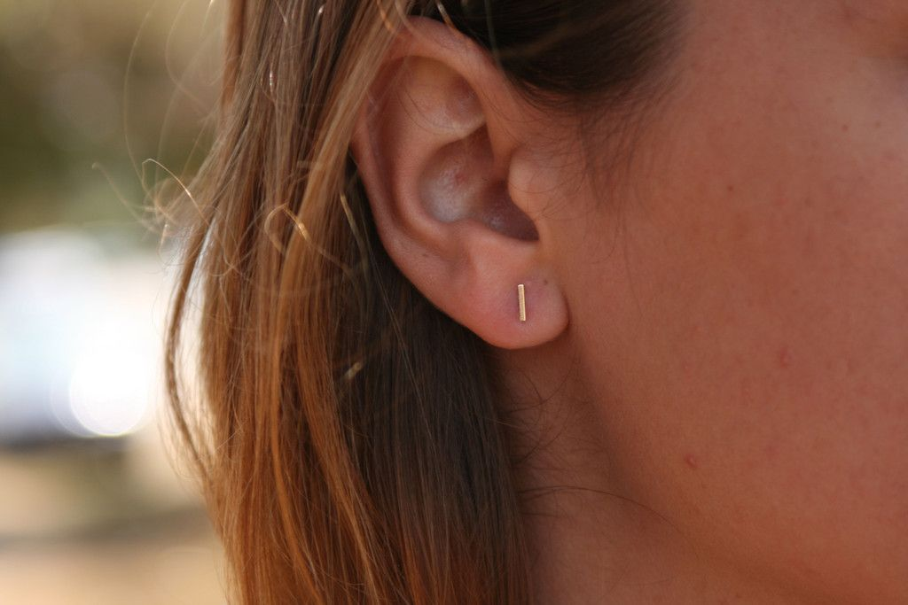 1e5092fb519 Solid 14K Gold Tiny Bar Earrings - Belladaar