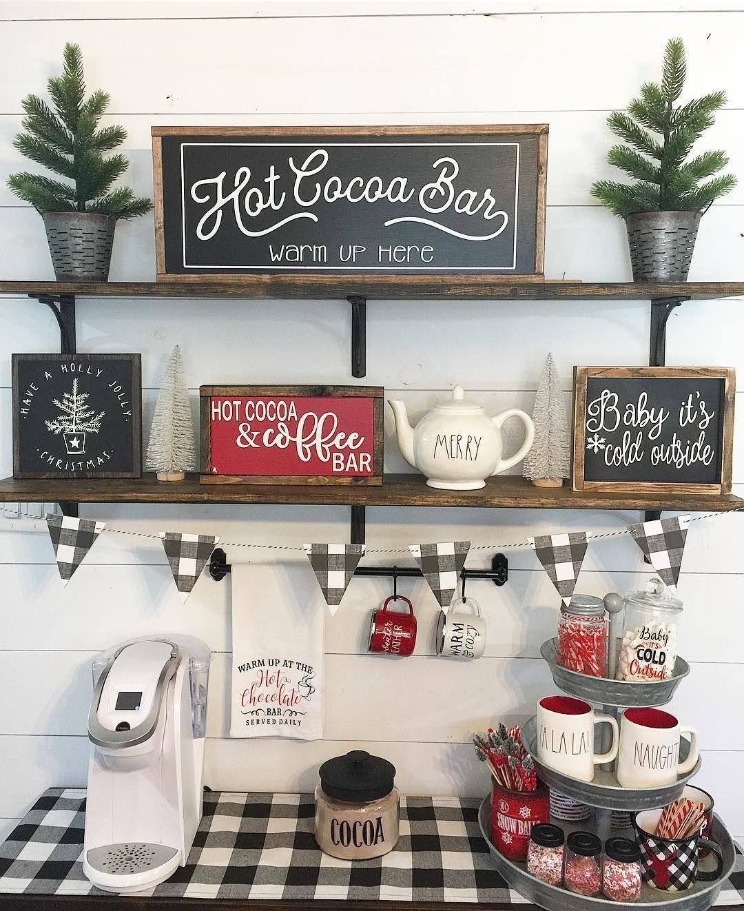 50 Diy Coffee Bar Ideas Inside The Home For Coffee Enthusiast Coffee Bar Home Farmhouse Christmas Decor Diy Coffee Bar