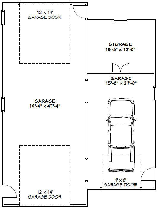 36x48 1 rv 1 car garage 1 600 sq ft pdf floor plan for Rv garage door dimensions