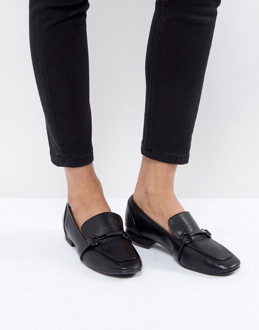 2446fb7f9 Bershka Chain Detail Loafer - Black Leather Loafers, Brogues, Asos,  Comfortable Flats,