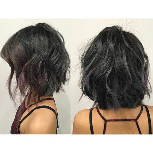 curly hairstyles haircuts tiny gray and purple highlights on textured bob black 4902