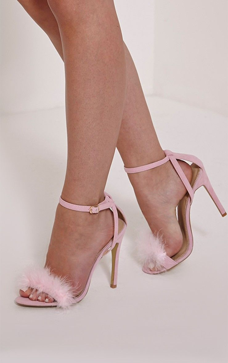 Gina Baby Pink Faux Suede Fluffy Heels | PRETTYLITTLETHING ...