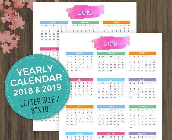 Printable Calendar 2018, 2019 Desktop Calendar, Wall Calendar, Year
