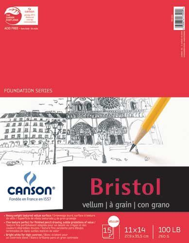 Canson Bristol Pads Vellum 11 In X 14 In Heavyweight Bristol Vellum Paper Pad For Drawing Crafts Features A Bright White Su Foundation Series Drawing Letters Drawings