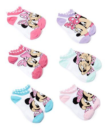 ced580fcd9a3 Look what I found on  zulily! Six-Pack Minnie Mouse Six-Pack Low-Cut Socks  - Girls  zulilyfinds