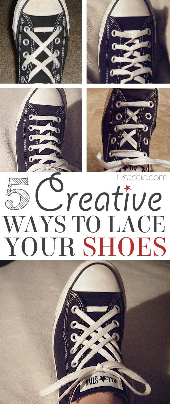 d99b27f2463c 5 Fun and creative ways to tie your shoes! How to tie your shoelaces cool  with these easy lacing techniques... Perfect for Converse or any sneakers.