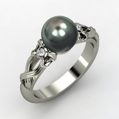 Tahitian Cultured Pearl Sterling Silver Ring with Diamond - Perspective