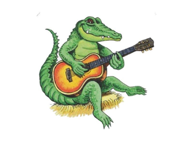 Alligator Playing Guitar Funny Art Prints Louisiana Art Tiger Art