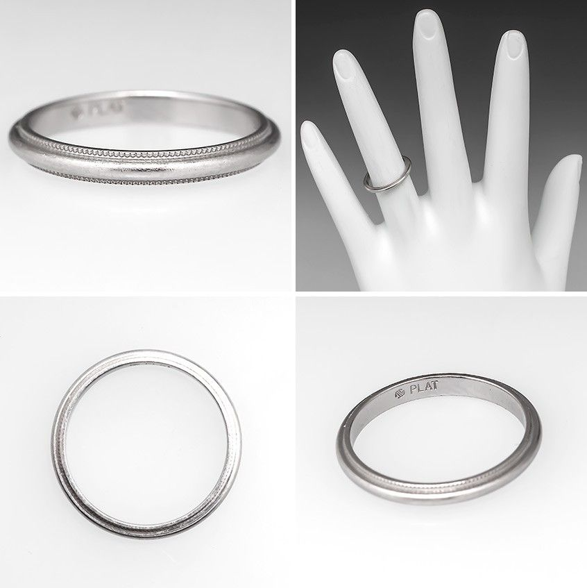 Ladies Wedding Band Ring 2mm Wide Milgrain Edging Platinum Stone