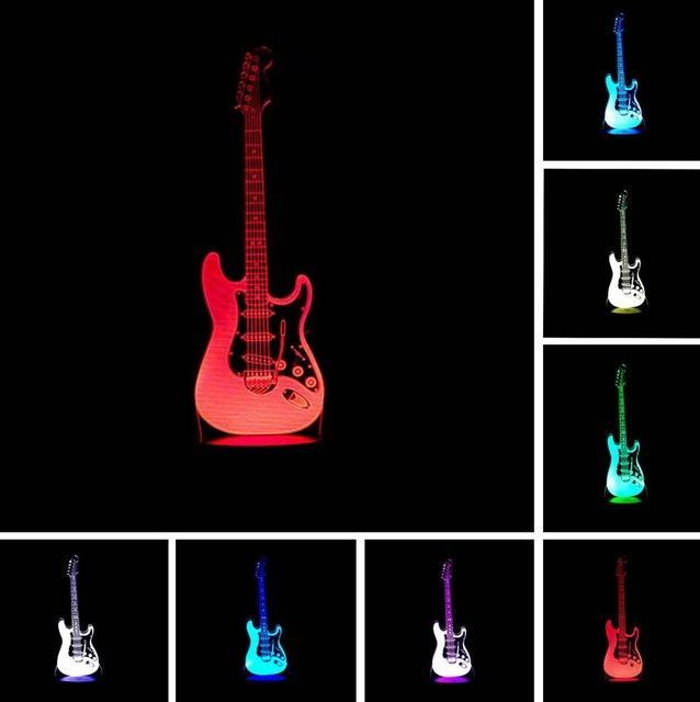 3d Electric Music Guitar Led Illusion Lamp Night Light Lamp Color Changing Lamp Night Light