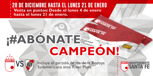 RT @SantaFe: #AbónateCampeón Hasta el 21/Ene podrás abonarte para acompañar al León en 2016-I y Recopa https://t.co/SvZTmWbFfM https://t.co/8sHH0s01Rr